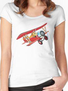 Cartoon biplane Women's Fitted Scoop T-Shirt