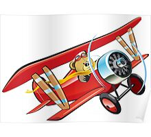 Cartoon biplane Poster