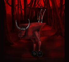 Red Bull in the red forest by Glenn Jenner