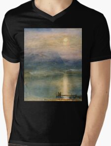 Moonlight on Lake Lucerne with the Rigi in the Distance by William Turner Mens V-Neck T-Shirt