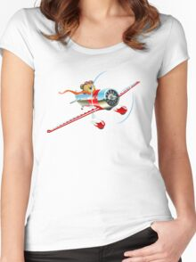 Cartoon retro airplane Women's Fitted Scoop T-Shirt