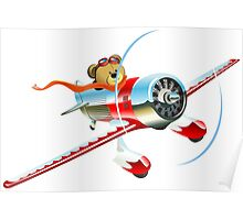 Cartoon retro airplane Poster