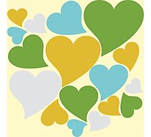 Retro hearts pattern Photographic Print