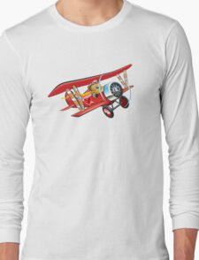 Cartoon biplane Long Sleeve T-Shirt
