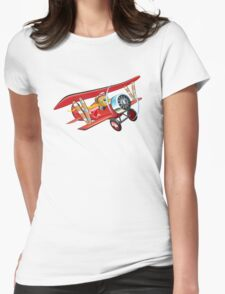 Cartoon biplane Womens Fitted T-Shirt