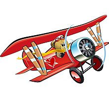 Cartoon biplane Photographic Print