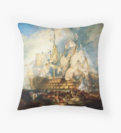 The Battle of Trafalgar (1822) by JMW Turner Throw Pillow