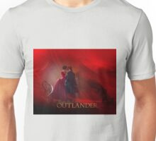 Jamie & Claire on staircase/Dragonfly in Amber Unisex T-Shirt