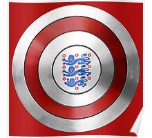 CAPTAIN ENGLAND - Captain America inspired English shield Poster