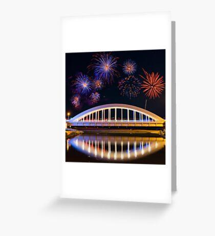Bridge and Fireworks Greeting Card
