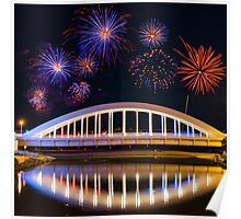 Bridge and Fireworks Poster