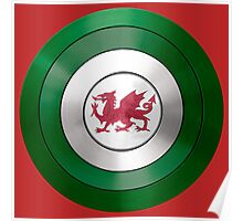 CAPTAIN WALES - Captain America inspired Welsh shield Poster