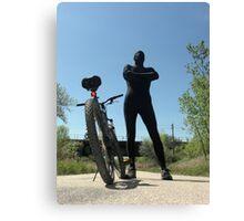 Black Zentai and Bike 4 Canvas Print