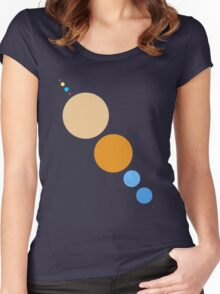 Planets To Scale (diagonal) Women's Fitted Scoop T-Shirt