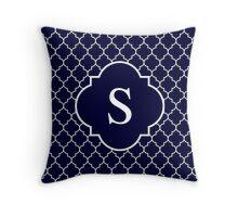 Navy Blue Quatrefoil White Monogram S Throw Pillow