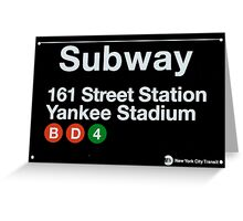 Yankees Subway Sign Greeting Card