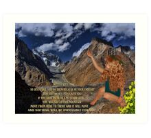 ❦ ❧A MUSTARD SEED MOVES MOUNTAINS -BIBLICAL TEXT CARD/PICTURE❦ ❧ Art Print