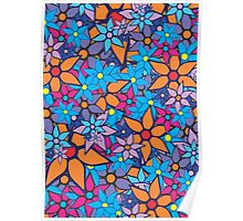Retro Trendy Floral Pattern Poster