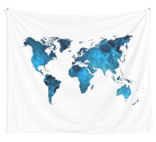 The World in Blue Wall Tapestry