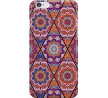 Rhombus Boho Flower Tile Pattern Pink Blue iPhone Case/Skin