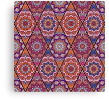 Rhombus Boho Flower Tile Pattern Pink Blue Canvas Print