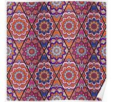 Rhombus Boho Flower Tile Pattern Pink Blue Poster