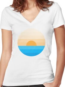 Sun goes down Women's Fitted V-Neck T-Shirt