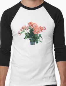 Peach Colored Roses Men's Baseball ¾ T-Shirt