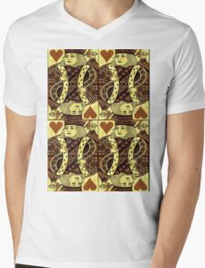 FOUR KING OF HEARTS Mens V-Neck T-Shirt