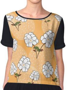 White Floral Pattern - Yellow Background Chiffon Top