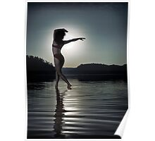 Woman dancing in moonlight under full moon on the water art photo print Poster