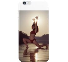 Woman doing yoga Anjaneyasana Low Lunge pose on the water in morning sunlight art photo print iPhone Case/Skin