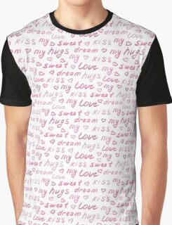 Love lettering seamless pink pattern, hand drawn calligraphy wallpaper.  Graphic T-Shirt
