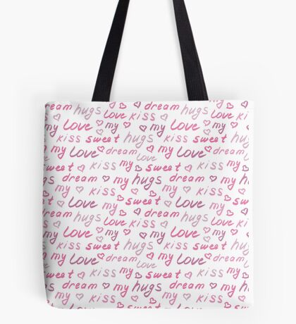Love lettering seamless pink pattern, hand drawn calligraphy wallpaper.  Tote Bag