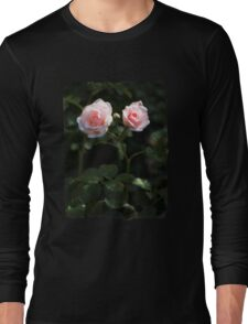 Two pink roses in the garden Long Sleeve T-Shirt