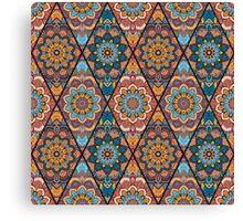 Rhombus Boho Flower Tile Pattern Canvas Print