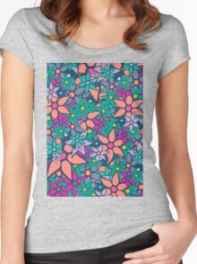 Trendy Floral Pattern Women's Fitted Scoop T-Shirt