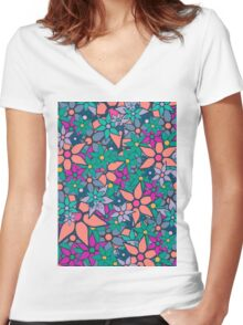 Trendy Floral Pattern Women's Fitted V-Neck T-Shirt