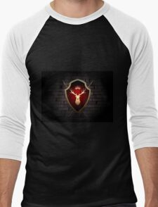 Deer Shield with Torches on the Wall Men's Baseball ¾ T-Shirt