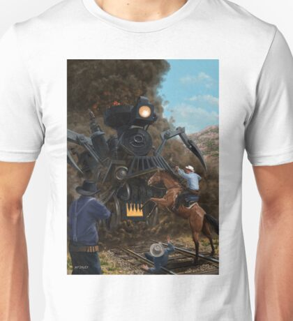 Monster Train attacking Cowboys Unisex T-Shirt