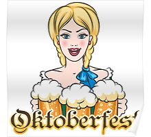 Girl with Beer Mugs Emblem Poster