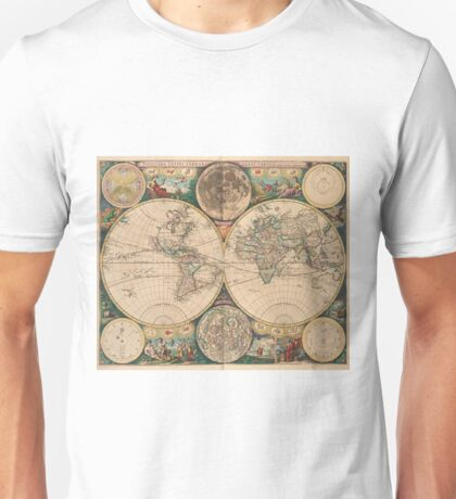 Vintage Map of The World (1672) 2 Unisex T-Shirt