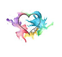 Watercolor Heart sisters Photographic Print