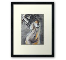 Black Dress 2 - Female Nude Framed Print