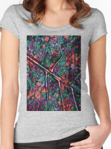 Vintage Trendy Floral Pattern Women's Fitted Scoop T-Shirt