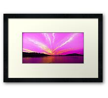 Pink Orange & White Ocean Sunrise with Water Reflections. Framed Print