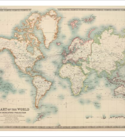 Vintage Map of The World (1911) Sticker