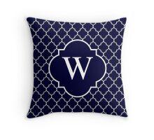 Navy Blue Quatrefoil White Monogram W Throw Pillow