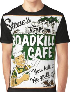 """STEVE'S ROADKILL CAFE"" Vintage Advertising Print  Graphic T-Shirt"