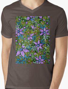 Vintage Trendy Floral Pattern Mens V-Neck T-Shirt